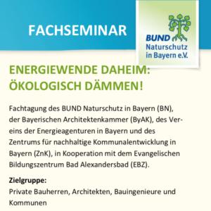 ENERGIEWENDE DAHEIM: ÖKOLOGISCH DÄMMEN! @ Evangelisches Bildungszentrum Bad Alexandersbad, Landkreis Wunsiedel