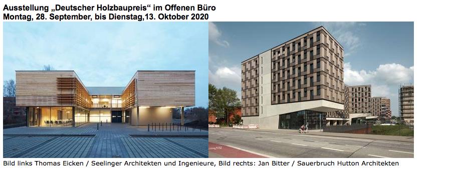 """Ausstellung """"Deutscher Holzbaupreis"""" im Offenen Büro Montag, 28. September, bis Dienstag,13. Oktober 2020 @ Offenes Büro"""